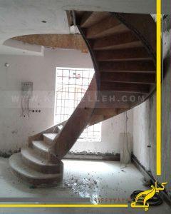 پله گرد تیرآهنی روکش سنگ